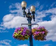Straatlantaarn met een mand van kleurrijke bloemen Royalty-vrije Stock Fotografie