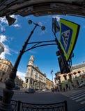 Straatlantaarn op Vijf hoeken die in heilige-Petersburg kruisen Stock Foto