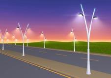 Straatlantaarns die bij dageraad op de weg glanzen - 3d illustratie vector illustratie