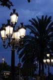 Straatlantaarns door Gaudi in Barcelona worden ontworpen dat Stock Afbeelding