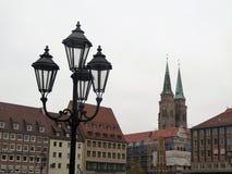 Straatlantaarns in Nuremberg, Duitsland royalty-vrije stock foto's