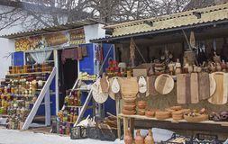 Straatmarkt in Georgië met een verscheidenheid van producten van landbouwers en artisans Stock Foto