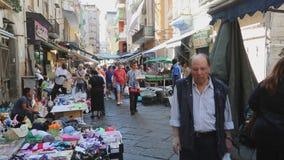 Straatmarkt Napoli stock videobeelden