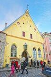 Straatmening aan het Estlandse Geschiedenismuseum in de Oude stad van Tallin Royalty-vrije Stock Foto's