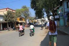 Straatmening in Bagan Myanmar royalty-vrije stock fotografie