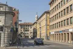 Straatmening, Bergamo, Italië Royalty-vrije Stock Fotografie
