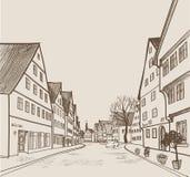 Straatmening in oude Europese stad Retro cityscape - huizen, gebouwen, boom op steeg vector illustratie