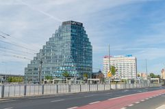 Straatmening van Baltyk-Toren in stadscentrum van Poznan stock foto