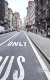 Straatmening van de oude gebouwen in lager Manhattan Royalty-vrije Stock Afbeeldingen