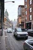 Straatmening van de oude gebouwen in lager Manhattan Royalty-vrije Stock Foto