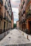 Straatmening van Las Letras of Literair Kwart in Madrid stock foto
