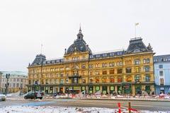 Straatmening van Magasin du Nord in de winter Royalty-vrije Stock Afbeeldingen