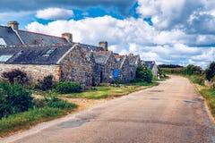 Straatmening van mooi dorp van de vroegere visserij van Rostudel vill Royalty-vrije Stock Foto