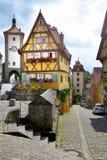 Straatmening van Rothenburg ob der Tauber, Duitsland Stock Foto