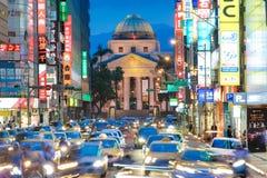 Straatmening van Taipeh bij nacht Stock Afbeelding