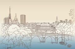 Straatmeningen in de oude stad Cityscape van Parijs mening van Louvre royalty-vrije illustratie