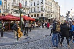 Straatmusici in Brussel stock afbeeldingen