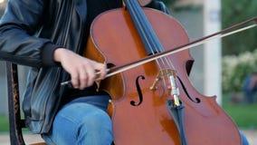 Straatmusici die in het park in een grote stad spelen stock videobeelden