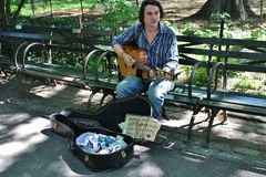 Straatmusicus in Central Park royalty-vrije stock foto's