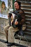Straatmusicus met Harmonika Royalty-vrije Stock Foto