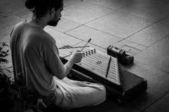 Straatmusicus Playing Hammered Dulcimer Royalty-vrije Stock Foto's