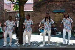 Straatmuzikanten die in historische stad van York, Engeland presteren Royalty-vrije Stock Foto