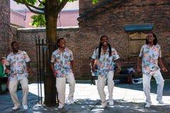 Straatmuzikanten die in historische stad van York, Engeland presteren Royalty-vrije Stock Fotografie