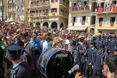 Straatparade voor Pasen op het Eiland Korfu Stock Foto's