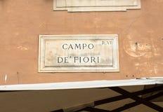 Straatplaat van beroemde Campo DE Fiori in Rome Royalty-vrije Stock Foto's