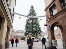 Straatsburg Frankrijk na terroristische aanslagen bij Kerstmismarkt royalty-vrije stock afbeeldingen