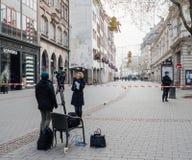 Straatsburg Frankrijk na terroristische aanslagen bij Kerstmismarkt stock afbeelding