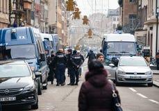 Straatsburg Frankrijk na terroristische aanslagen bij Kerstmismarkt stock afbeeldingen
