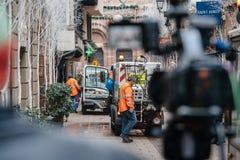 Straatsburg Frankrijk na terroristische aanslagen bij Kerstmismarkt royalty-vrije stock foto's