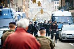 Straatsburg Frankrijk na terroristische aanslagen bij Kerstmismarkt stock foto's