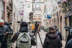Straatsburg Frankrijk na terroristische aanslagen bij Kerstmismarkt royalty-vrije stock foto