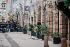 Straatsburg Frankrijk na terroristische aanslagen bij Kerstmismarkt royalty-vrije stock afbeelding