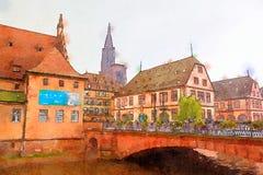 Straatsburg, gebied Petite France Stock Fotografie