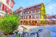 Straatsburg, gebied Petite France Stock Afbeelding