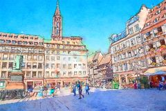 Straatsburg, gebied Petite France Royalty-vrije Stock Fotografie