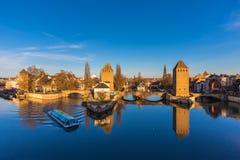 Straatsburg, middeleeuwse brug Ponts Couverts De Elzas, Frankrijk Royalty-vrije Stock Foto