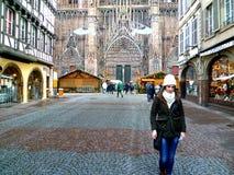Straatsburg op Kerstmis Royalty-vrije Stock Foto's