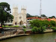 Straatscène op historisch centrum van Melaka, Maleisië stock fotografie
