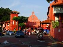 Straatscène op historisch centrum van Melaka, Maleisië stock afbeelding
