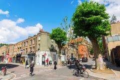 Straatscène bij Redchurch-Straat in Shoreditch, Londen Stock Foto