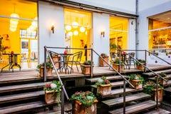Straatscène en restaurant in Kopenhagen Denemarken Royalty-vrije Stock Foto's