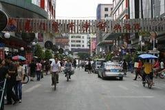 Straatscène van een regionale stad in China Stock Afbeeldingen