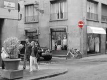 Straatsignalization in rood in Florencia, Italië royalty-vrije stock afbeeldingen