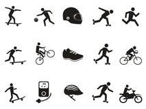 Straatsport biking die met een skateboard rijdend geplaatste pictogrammen schaatsen vector illustratie