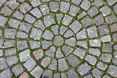Straatsteen opgemaakte cirkels Achtergrond Stock Fotografie
