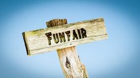 Straatteken aan Funfair royalty-vrije stock afbeeldingen